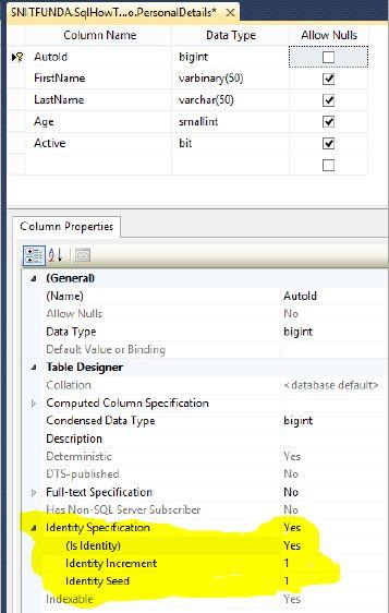 Set auto-increment column in SQL Server - Tech Funda