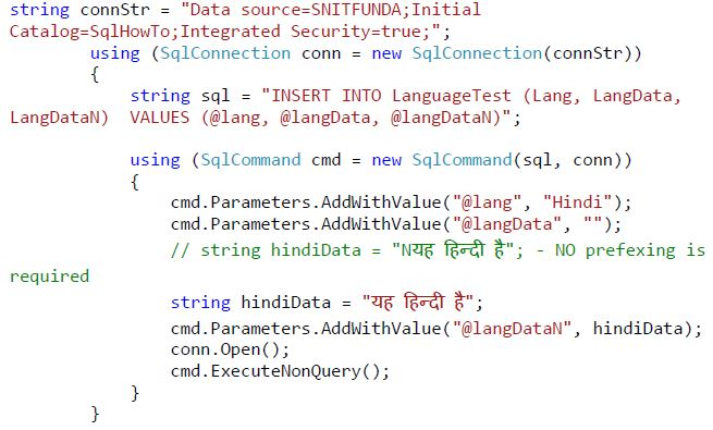 Store data of other language in SQL Server - Tech Funda