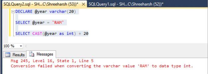 Convert data type of SQL Server variables in SQL Server