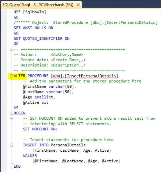 Alter / Modify a stored procedure in SQL Server - Tech Funda