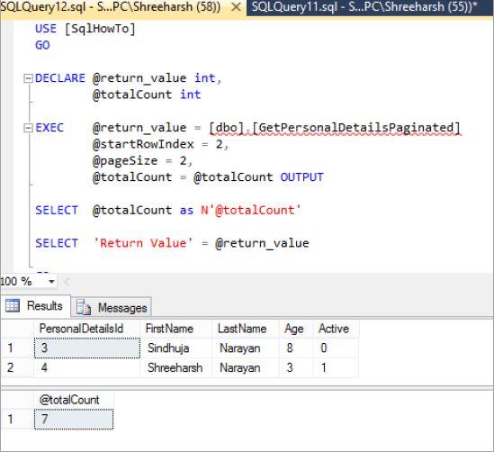 pagination stored procedure in SQL Server - Tech Funda