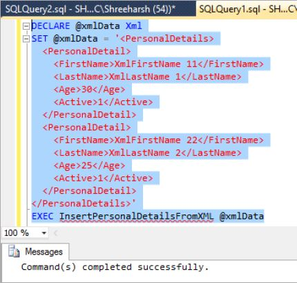 Insert records from XML to SQL Server database table in SQL