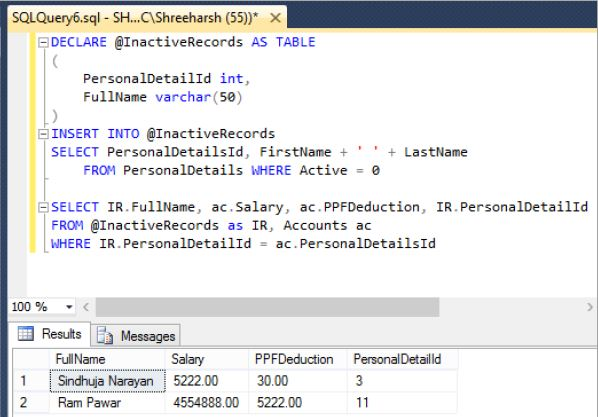 table variable in sql server tech funda