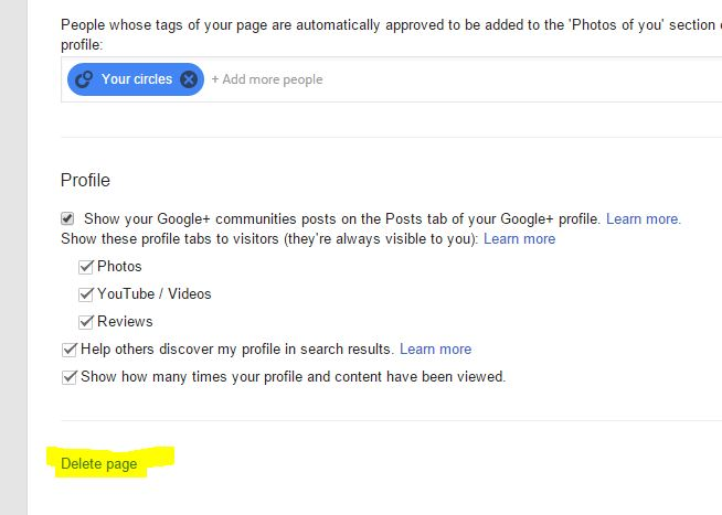 Delete google plus page