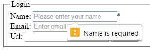 Custom validation error in html 5 form