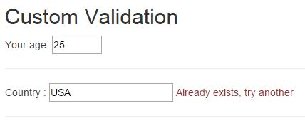 Validation using custom directive in AngularJS