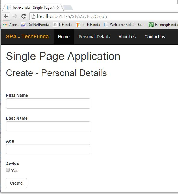 Single Page Application create view
