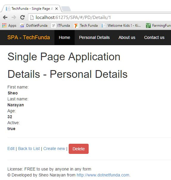 Single Page Application record details view
