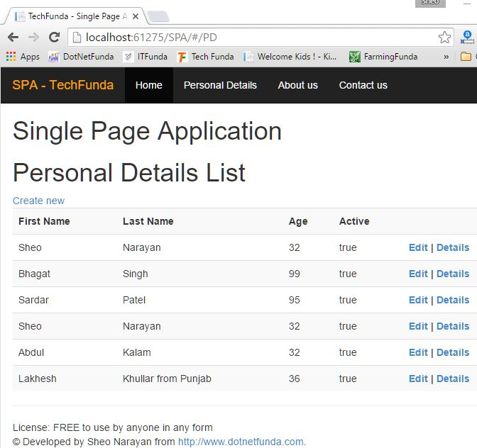 Single Page Application database record list view page