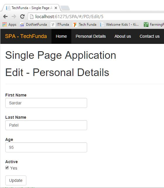 Single Page Application edit and update