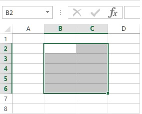 Range of cells in MS Excel
