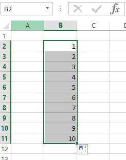 auto fill count in ms excel result