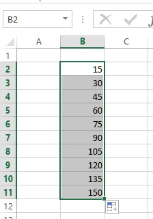 writing table in excel result