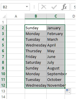fill weekday & month in excel