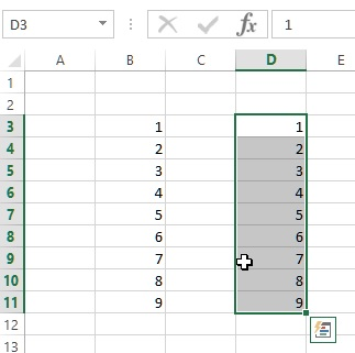 move range of cells in excel