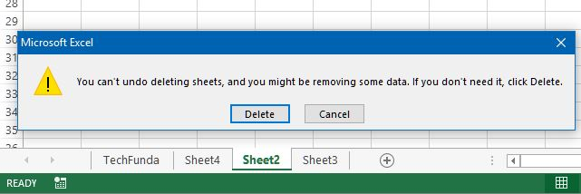 delete a worksheet of workbook in excel
