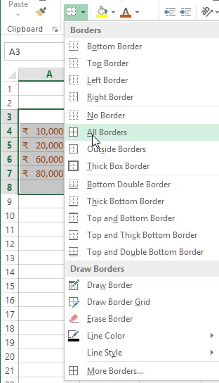 Cells Border style in excel