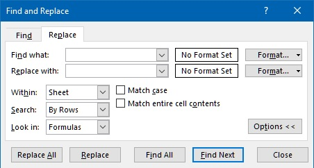 Replace dialog box in Excel