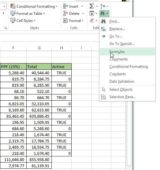 Finding formula in Excel