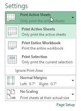 Print sheet in excel