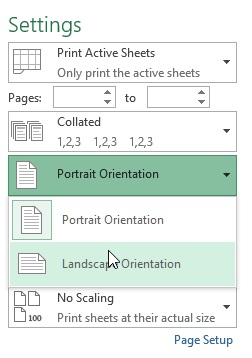 Print orientation in excel