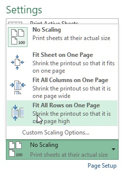 Scaling in excel