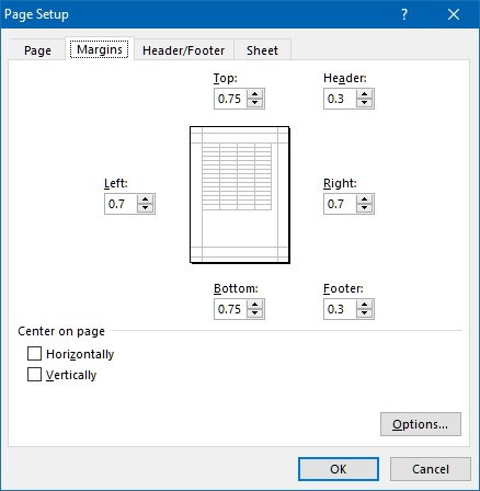 Page setup margin in Excel