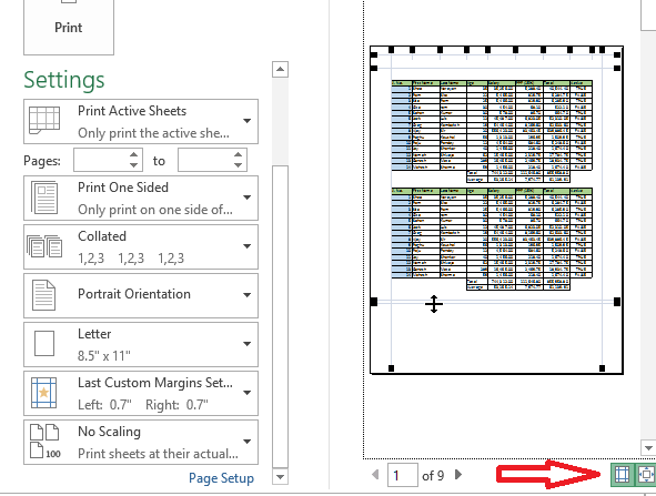 Show margin in print preview in excel