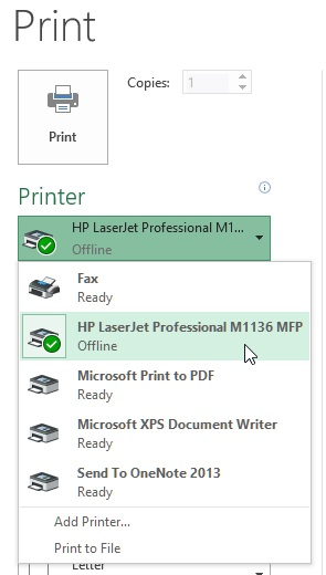 Printer selection in ms excel