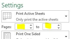 Print specific pages only in excel