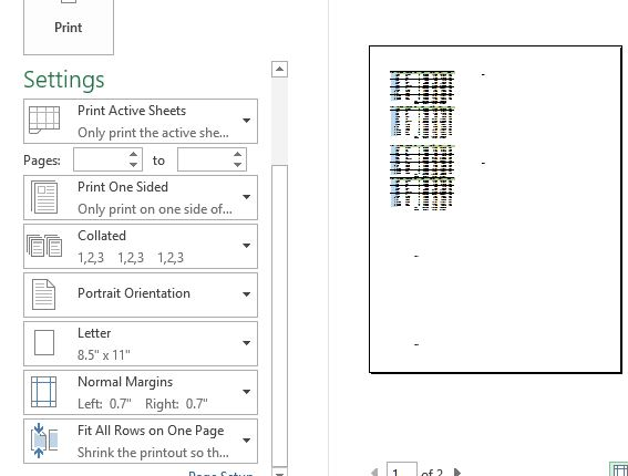 Fitting all rows into page in Excel