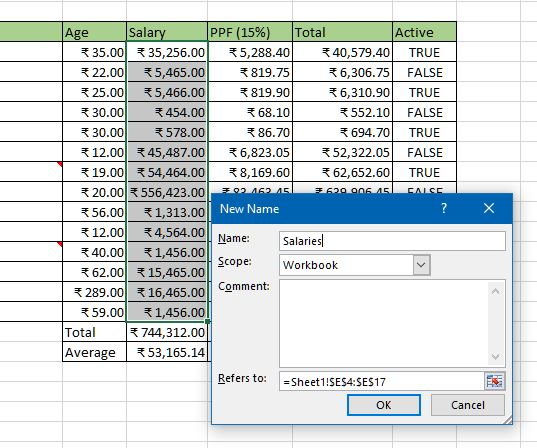 Creating named range in excel