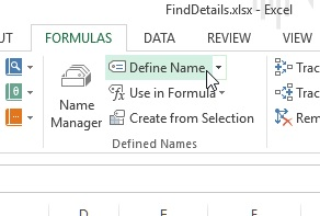 Define name command on Excel Ribbon