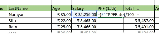 Named constant being used in formula in excel