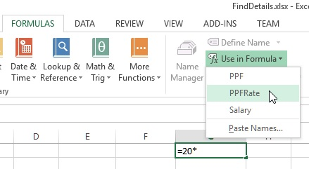 Use named cells in excel