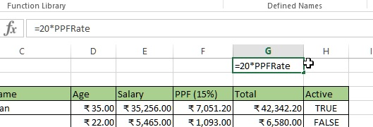 Named constant pasted in the cell in excel