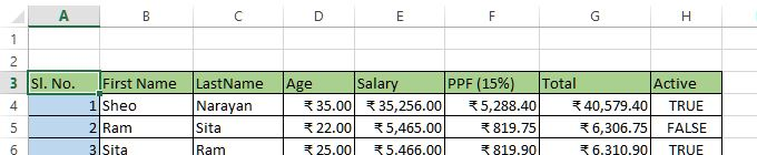 select entire row from range of data in excel