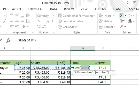 Auto sum from Ribbon bar in excel