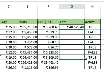 Drag the formula to other rows in excel