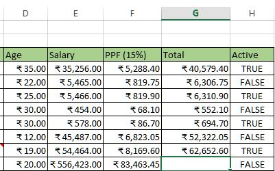 Copy formula in other cells of the rows in excel
