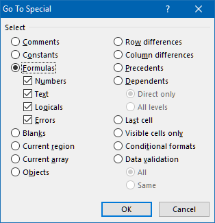 Go To special dialog box