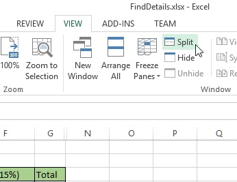 Split command on ribbon in excel