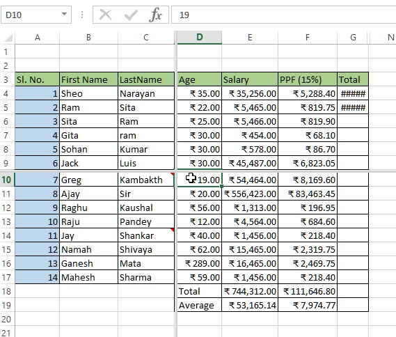 Splitted spreadsheet in excel