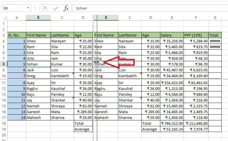 Vertical resize of splitted window in excel