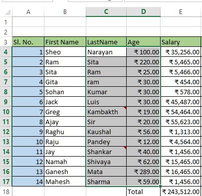 Chart data in excel