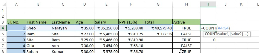 Count columns having numeric data in excel