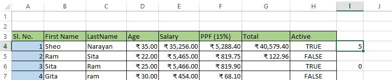 Count function result in excel