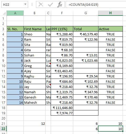 count non blank cells in excel using COUNTA function