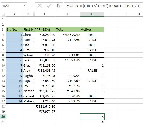 Count mixed logical values in excel