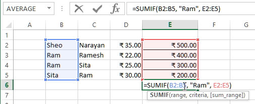 sumif range based on other column value in excel